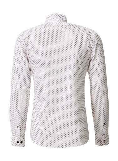 Altınyıldız Classics Baskılı Düğmeli Yaka Tailored Slim Fit Gömlek 4A2020200024 Beyaz